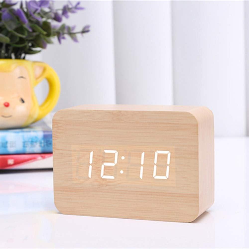 Queta Reloj Digital Despertador de Madera, Digital Alarma Despertador con Tiempo Fecha y Año, 3 Grupos de Hora de Alarma, Control de Sonido y LED Brillo de Pantalla de 3 Niveles