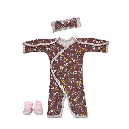 Perfectly Preemie Long-Sleeve NIC-Jumpsuit - NICU Friendly (Scattered Flowers, Preemie ()