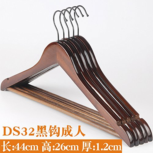 SHRCDC Natural Wood/Hanger 10Pack/Non-Slip(23-44.5Cm)/Brown/Beige/White/Adult Children/Tops/Pants/Skirts/Hotel/Suit Hangers,10 Pieces,A44Cm