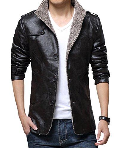Giaccone Spesso Di Uomo Giacconi Pelle Nero Caldo Cappotto Giacca Invernali E81nXqWS