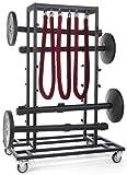 QueuePole by Displays2go Stanchion Cart (12 Poles), Rope Storage, Locking Wheels, Black (RCCCRTBK)