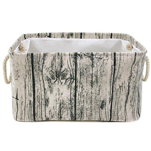 Jacone - Cesta rectangular de almacenamiento de grano de madera con asas de cuerda, decorativa y práctica para habitaciones...