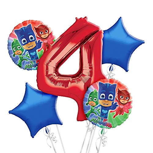 Party City PJ Masks 4th Birthday Balloon Bouquet, Party Decorations, Reusable, 5 -