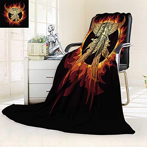 YOYI-HOME Luxury Collection Ultra Soft Plush The Phoenix Flying in Ring of fire All-Season Throw/Bed Blanket/69 W by 47