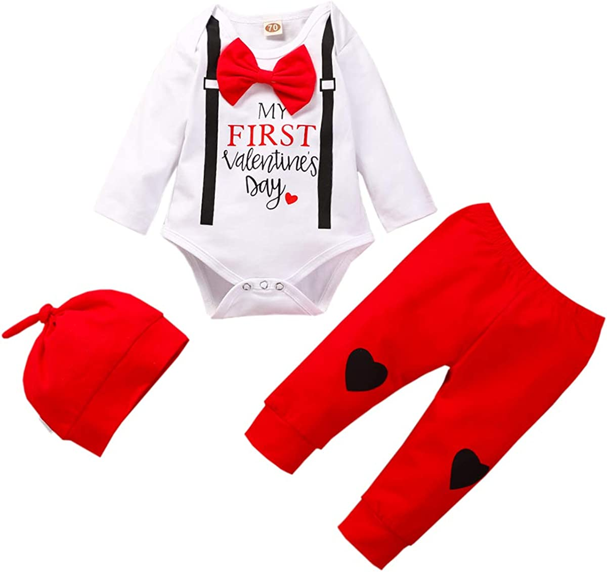 Shalofer Baby Boys My First Valentines Day Bodysuit Baby Gentleman Outfit with Hat