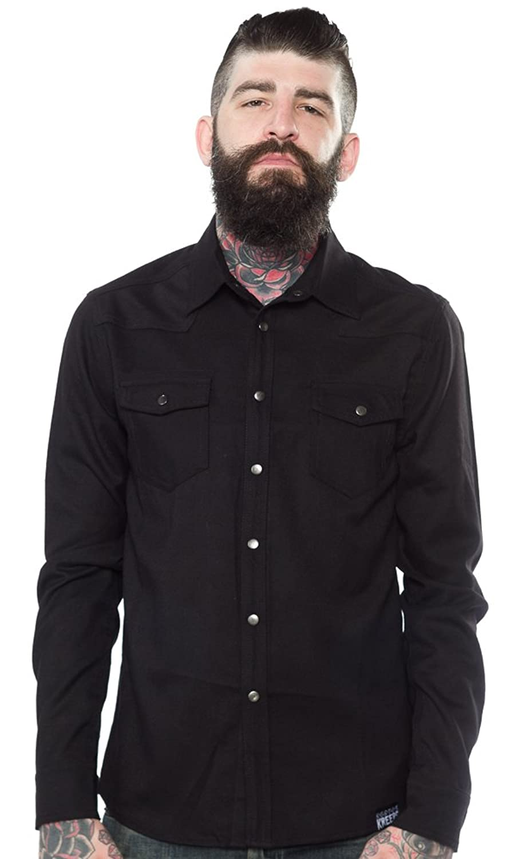1950s Style Men's Pants Kustom Kreeps Western Shirt Black $53.99 AT vintagedancer.com
