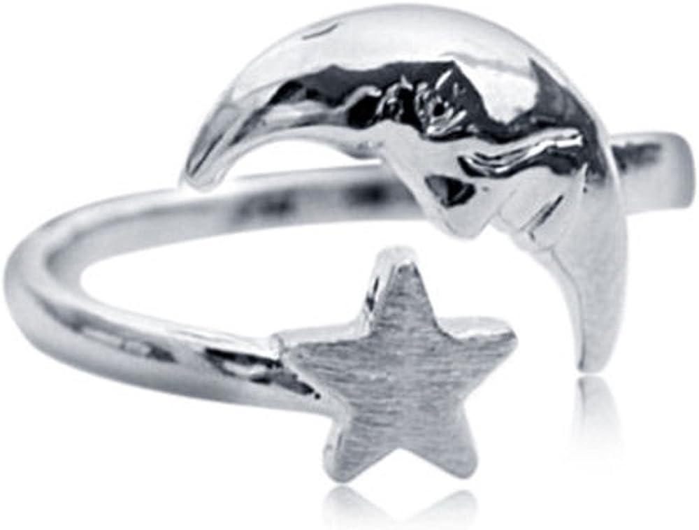 Vorra Anillo para nudillos con forma de media luna y estrellas, ajustable, plata 925, para mujer