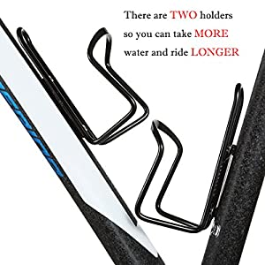 Stanaway 2 Pack Aluminum Alloy Bicycle Water Bottle Holder Cage With Connector For Outdoor Sports (black)