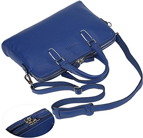 Banuce Unisex Echtes Leder Schlanke Aktentasche Top-Reißverschluss Laptoptasche Farbe Schwarz