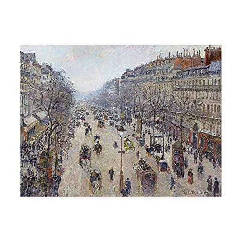 - Trademark Fine Art Boulevard Montmartre, Morning, Cloudy Weather by Pissarro, 24x32, Multiple