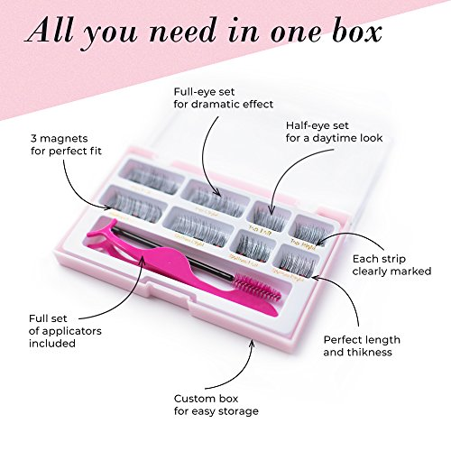 Lash Love Premium Magnetic False Eyelashes - The Most Complete Starter Set with Improved Design - For All Occasions Includes Half Set, Full Set with 3 magnets, Tweezers and Brush Applicators