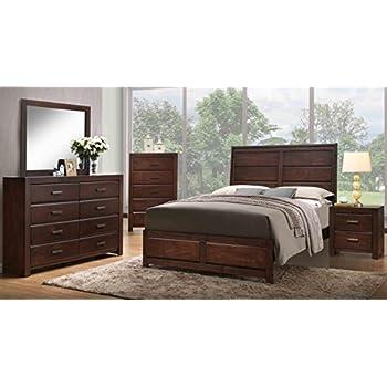 Kings Brand Furniture Aurora 6 Piece Walnut Wood King Size Bedroom Set.  Bed, Dresser, Mirror, Chest, 2 Nightstands