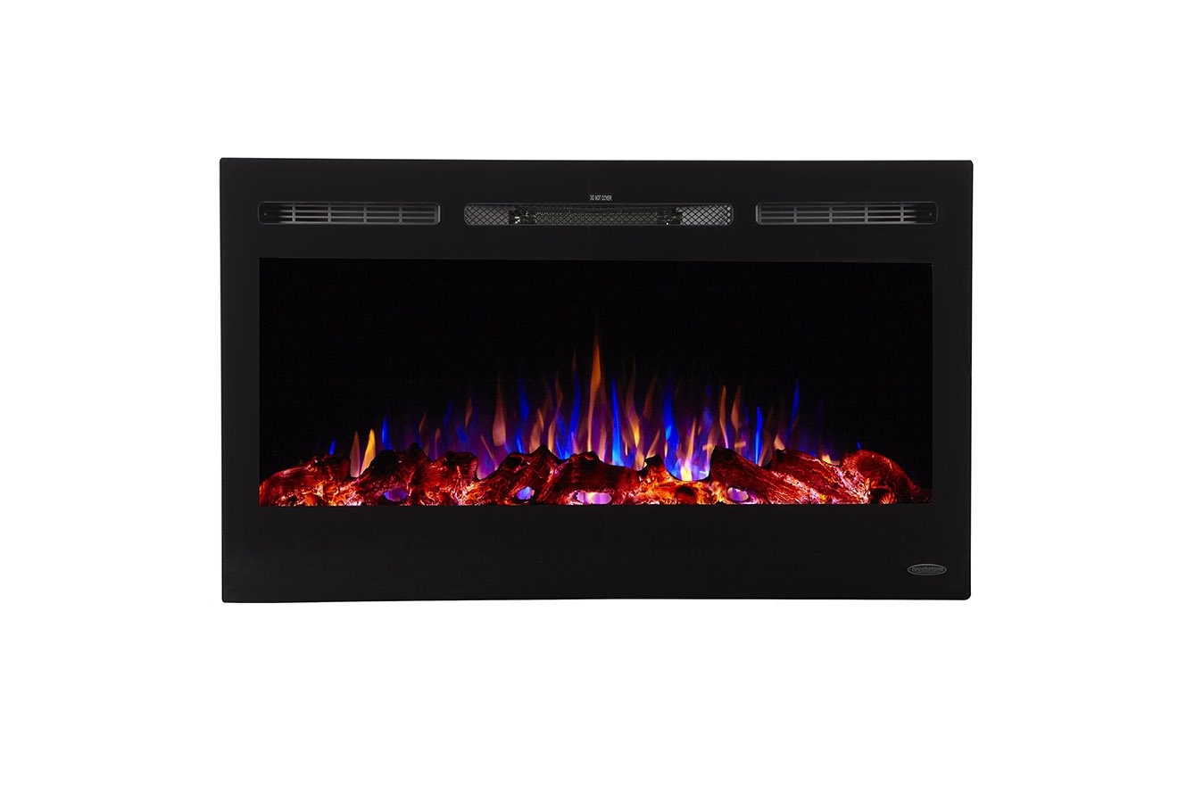 Touchstone 80014 - Sideline Electric Fireplace - 36 Inch Wide - in Wall Recessed - 5 Flame Settings - Realistic 3 Color Flame - 1500/750 Watt Heater - (Black) - Log & Crystal Hearth Options by Touchstone