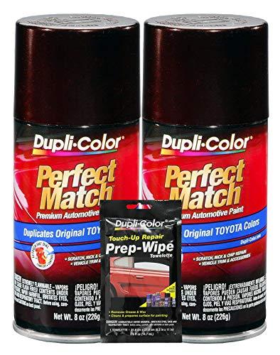 Dupli-Color Black Garnet Pearl Exact-Match Automotive Paint for Toyota Vehicles - 8 oz, Bundles Prep Wipe (3 Items)