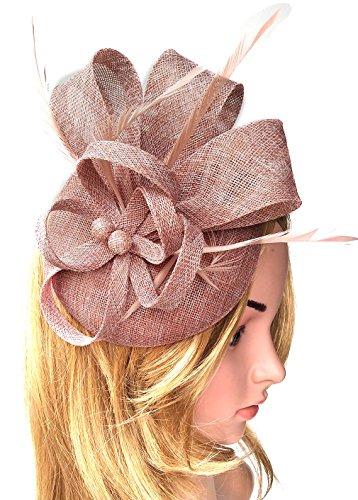 Biruil Women's Fascinator Hat Imitation Sinamay Feather Tea Party Pillbox Flower Derby (Champagne) by Biruil