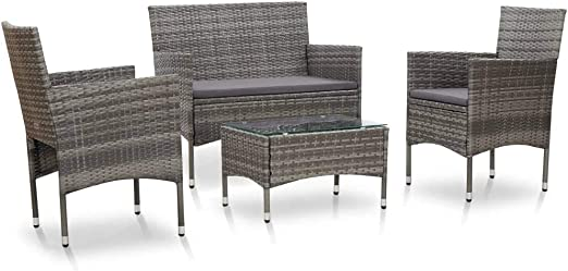 Goliraya Set de Muebles de jardín 4 pzas y Cojines ratán sintético Gris Conjunto de sofás: Amazon.es: Hogar