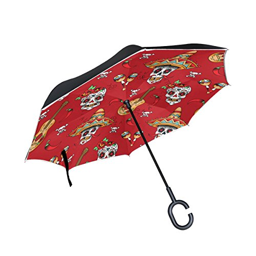 OREZI Double Layer Inverted Reverse Folding Umbrella Windproof Protection Big Straigh Umbrella for Car With C-Shaped Handle,Mexican Sugar Skulls With Chili Pepper Umbrella for Women and Men