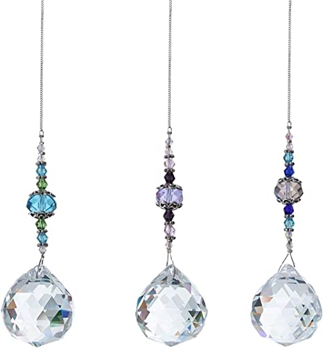 JAHEMU Kristall H/ängende Glaskugel Prisma Regenbogen Sonnenf/änger Fenster Chakra Anh/änger Crystal Suncatcher f/ür Zuhause B/üro Garten Dekoration