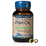 Wiley's Finest Easy Swallow Minis, 630mg EPA + DHA Omega-3s,NSF-Certified, Wild-Caught Alaskan Fish Oil, 60 Softgels
