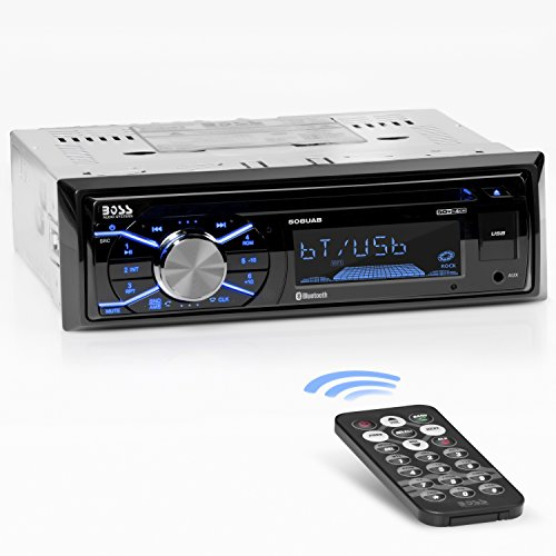 - BOSS Audio 508UAB Multimedia Car Stereo - Single Din, Bluetooth Audio and Hands-Free Calling, Built-in Microphone, CD, MP3, USB, AUX Input, AM/FM Radio Receiver, LCD Display, Wireless Remote Control