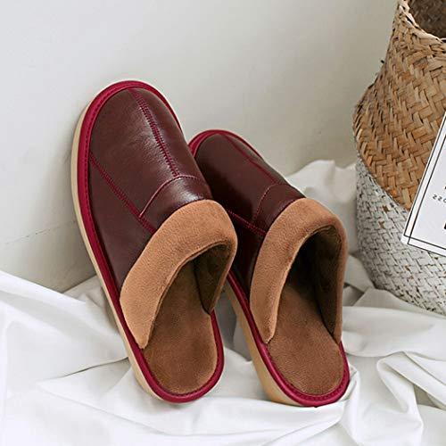 Femmes Chaud Pantoufles Vin Intérieur Femme Hiver Chaussures Fourrure Cuir Doux Maison Douces Rouge En Tongs UHwxI8q