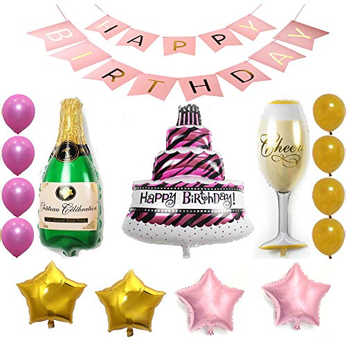 Ezing 28 pcs Pack Pink Happy Birthday Cake Champagne Cup Bottle Foil Balloon Birthday Party Pack - Gold Pink Latex Balloon Decorations Party Supplies (J)
