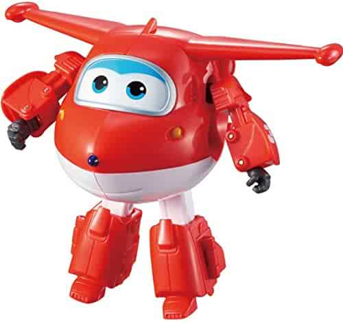 "Super Wings Transforming Jett Toy Figure | Plane | Bot | 5"" Scale"