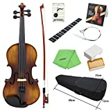ammoon Acoustic Violin Fiddle 4/4 Full Size Kit Solid Wood Matte Finish Spruce Face Board 4-String Instrument with Hard Case Bow Rosin Clean Cloth Extra Strings Fingerboard Sticker