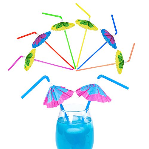 Tiki Bar Party Supplies (Multicolored Tropical Luau Parasol Hibiscus Print Umbrella Disposable Bendable Drinking Straws for Island Themed Party, Kitchen Supplies, Bars, Restaurants (48)