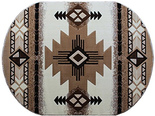 Champion Rugs Southwest Native American Indian Ivory Carpet Area Rug (3 Feet X 5 Feet Oval)