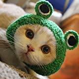 Potelin Adorable Pet Funny Hat Cartoon Frog Shape Pet Cap Weaving Puppy Cat Hat Pet Grooming Supplies for Everyday Decoration Christmas Halloween Decoration Use 1PCS Larger Image