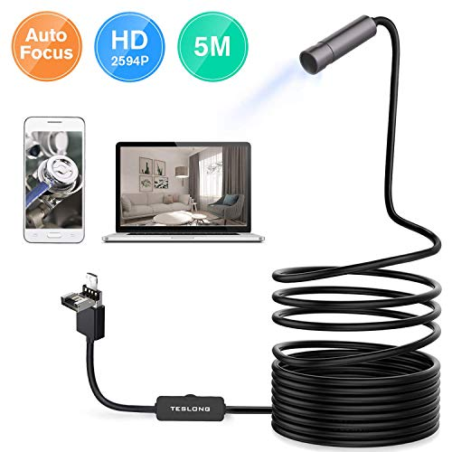 Auto Focus Inspection Camera, 5.0 Megapixels Semi-Rigid Borescope Endoscope Camera with Carrying Case for Android, Windows & MacBook Device