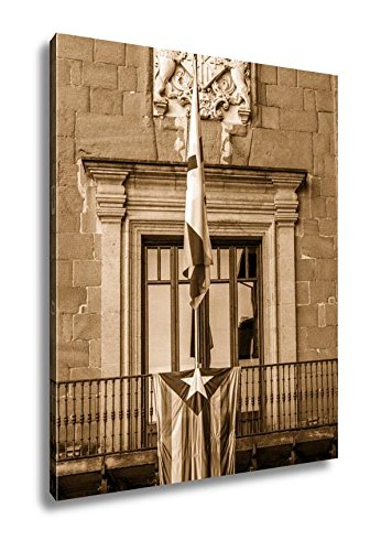 Ashley Canvas Detail Estelada Flag On The Town Hall Balcony Vic Catalonia Spain Independence, Wall Art Home Decor, Ready to Hang, Sepia, 20x16, AG5470132 by Ashley Canvas