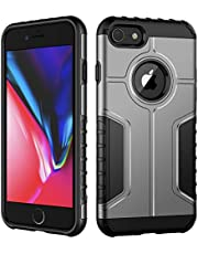 JETech Case for iPhone 8 and iPhone 7, Dual Layer Protective Cover with Shock-Absorption, Silver