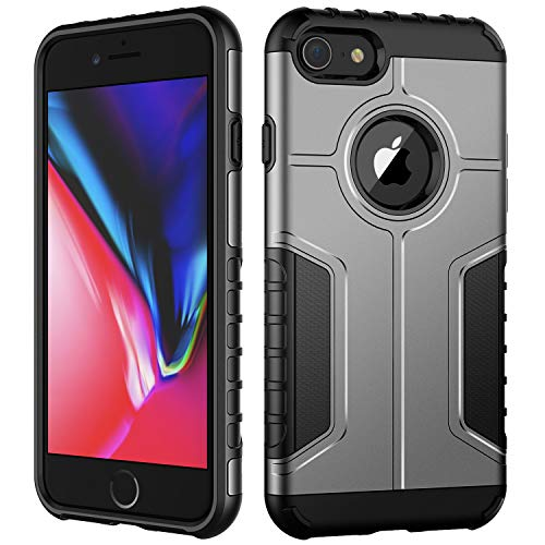 JETech Case for iPhone 8 and iPhone 7, Dual Layer Protective Cover with Shock-Absorption (Silver)