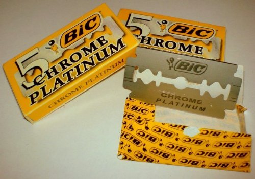 50 BIC Double Edge Razor Blades Chrome Platinum