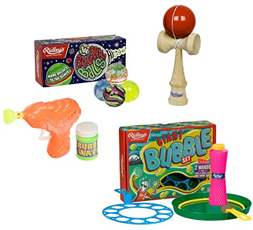 Ridley's Utopia Nostalgic Toys Set: Giant Bubbles, Bubble Gun, Bouncy Balls, Kendama (Set of 4)