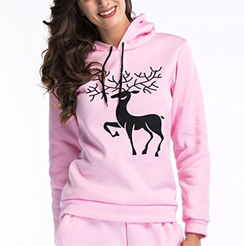 Casual Long Hoodie Tops Elk Sweatshirt Keepwin Sleeve Christmas Printed Pink Women Hooded wzSqUv8Y