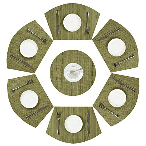 PAUWER Green Round Table Placemats Set of 7 Heat Resistant Woven Vinyl Wedge and Round Placemats PVC Washable