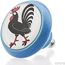 Premium Ceramic Home Decor Cabinet Furniture Knob 03407B BrK-Blue-163 Cock for Kids, Nursery & Adults - 3D Effect -100% Made in Germany