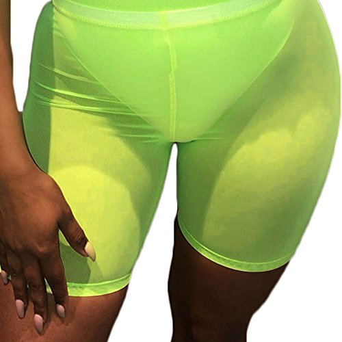 FULA-bao Women Sexy Perspective Mesh Sheer Swim Shorts Pants Bikini Bottom Cover up (Fluorescent Green, L)