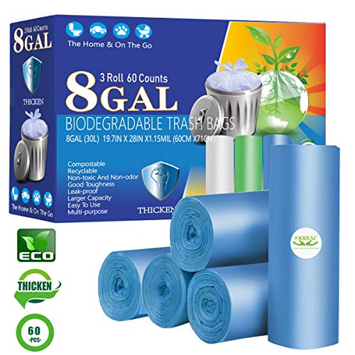 OKKEAI 8 Gallon Kitchen Trash Bags Biodegradable Garbage Bags Thicker 0.98 MIL Compost Recycling Bags Large Wastebasket Liners for Home Office, Lawn,Bathroom,60 Count (Fits 7-10 Gallon Bins)