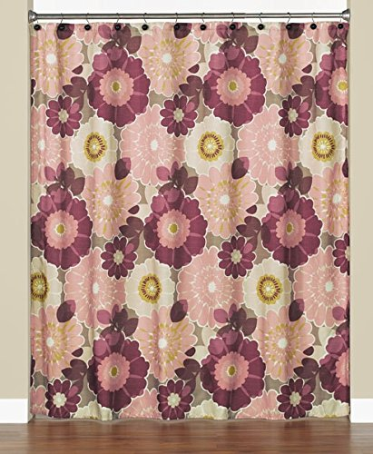 Mia Floral Fabric Shower Curtain In Pink