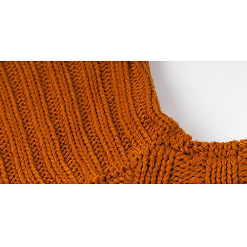 VOGABA Suéter Jersey de Manga Larga Alta Cuello Pullover Para Mujer Invierno Calentar Turtleneck Tops Suelto Sweaters amarillo