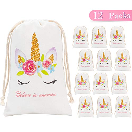 Whaline Unicorn Party Favor Bags Supplies 12 Pack Canvas Goodie Drawstring Bags for Kid's Birthday Party Favors and Baby Shower Gifts