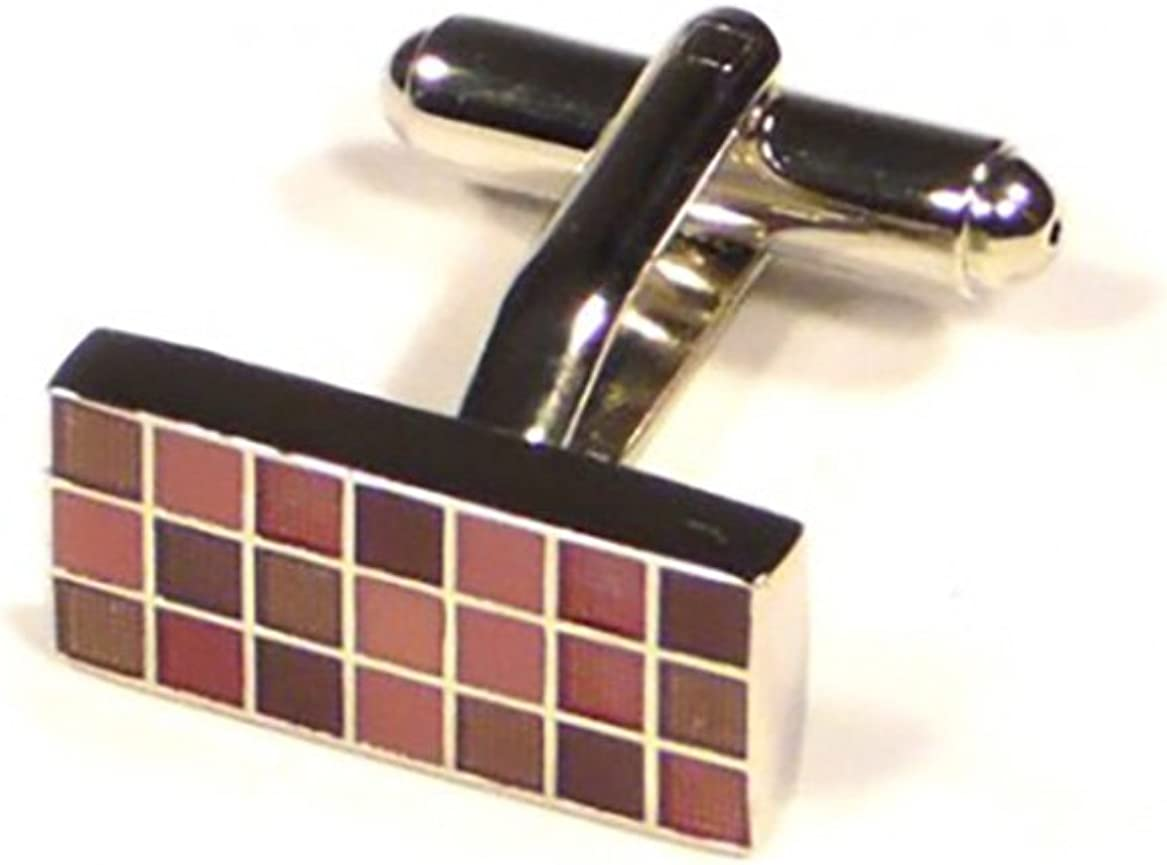 Red Purple Rectangle Grid Cufflinks Premium Business // Wedding Accessories by Focus Ties
