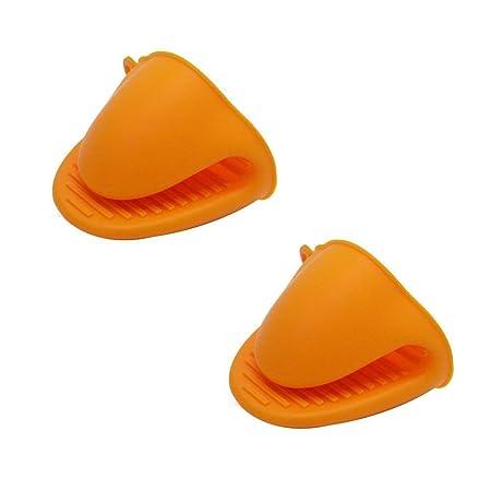 YuamMei 1 par (2 Piezas) Guantes de microondas Resistentes al Calor de Silicona Mini Manoplas de Horno (Naranja)