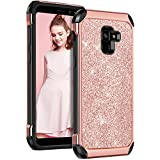 Samsung Galaxy A8 2018 Case, Galaxy A5 2018 Case YINLAI Bling Glitter Soft TPU Bumper Hard PC Coat Shiny Sparkly Leather Protective Phone Cases for Women Samsung Galaxy A8 2018/A530/A5 2018 Rose Gold