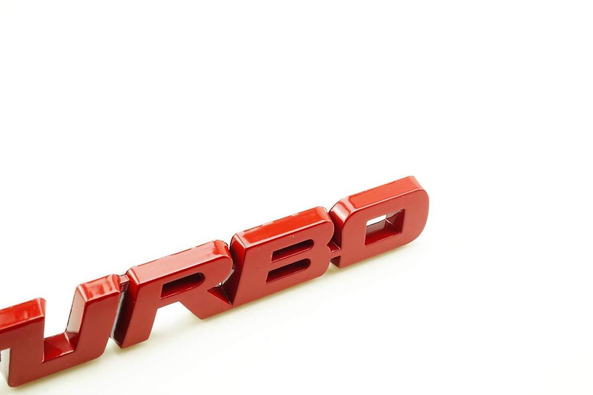 Red TRUCK CAR NAME PLATE TURBO METAL BADGE LOGO EMBLEM 13X1.8X0.5cm