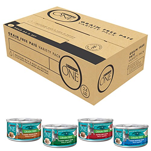 Purina ONE Grain Free Pate Variety Pack Adult Wet Cat Food - (24) 3 oz. Cans